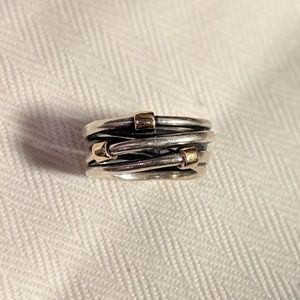 Pandora Silver and Gold Rope Ring